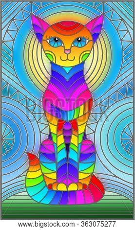 Illustration In Stained Glass Style With Abstract Geometric Cat And The Sun On An Abstract Blue Back