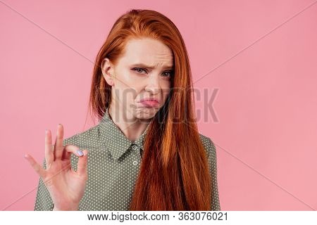 Attractive Redhair Ginger Woman Cant Keep Secrets Studio Background