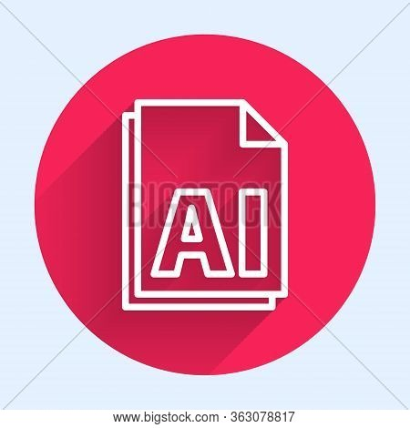 White Line Ai File Document. Download Ai Button Icon Isolated With Long Shadow. Ai File Symbol. Red