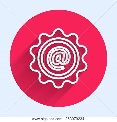 White Line Mail And E-mail Icon Isolated With Long Shadow. Envelope Symbol E-mail. Email Message Sig