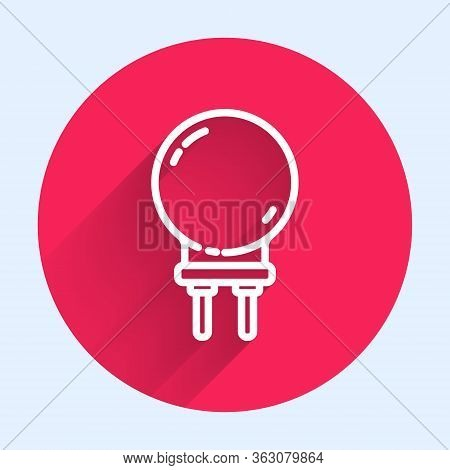 White Line Light Emitting Diode Icon Isolated With Long Shadow. Semiconductor Diode Electrical Compo