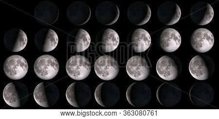 Moon Calendar. Set Of Moon Phases. Elements Of This Image Furnished By Nasa.