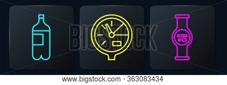 Set Line Bottle Of Water, Water Meter And Water Meter. Black Square Button. Vector