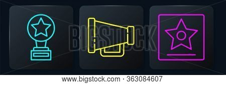 Set Line Movie Trophy, Hollywood Walk Of Fame Star And Megaphone. Black Square Button. Vector