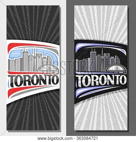 Vector Layouts For Toronto, Decorative Leaflet With Line Illustration Of Contemporary Toronto City S