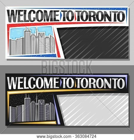 Vector Layouts For Toronto With Copy Space, Decorative Voucher With Illustration Of Modern Toronto C