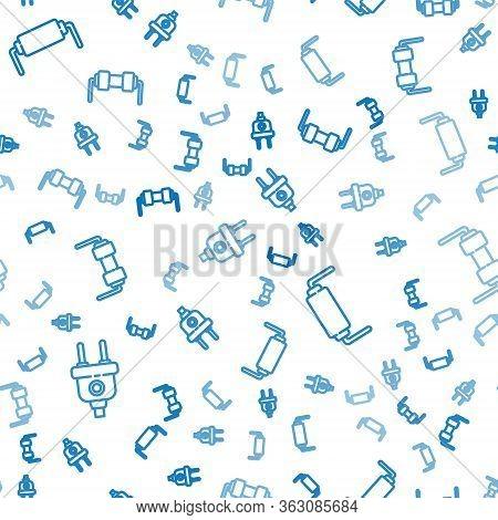 Set Line Electric Plug, Resistor Electricity And Resistor Electricity On Seamless Pattern. Vector
