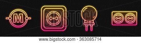 Set Line Light Emitting Diode, Electric Circuit Scheme, Electrical Outlet And Electrical Outlet. Glo