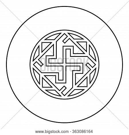 Valkyrie Varangian Sign Valkiriya Slavic Symbol Icon In Circle Round Outline Black Color Vector Illu