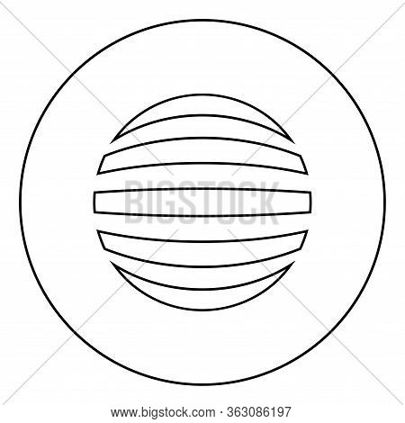 Striped Sphere Concept Globe Abstract Ball Icon In Circle Round Outline Black Color Vector Illustrat