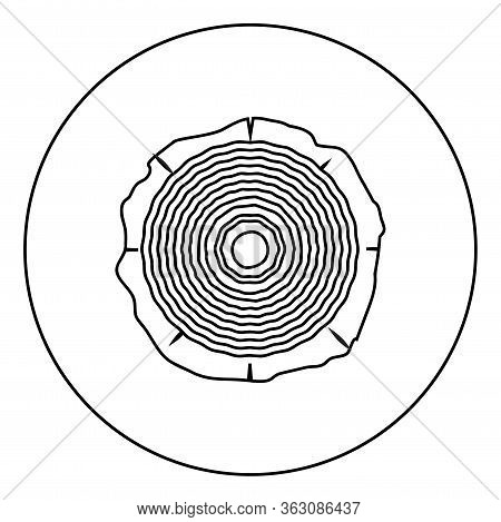 Cut Tree Wood Rings Trunk Timber Wooden Texture Icon In Circle Round Outline Black Color Vector Illu