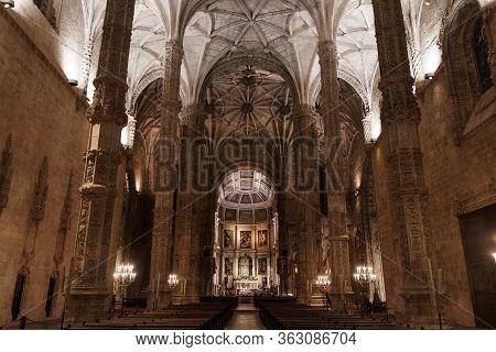 Interior Of Church In Jeronimos Hieronymites Monastery In Lisbon, Portugal