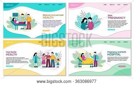 Set Of Four Pregnancy Related Templates Showing A Family With Newborn At A Doctor, Couple Bonding Wi