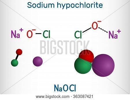 Sodium Hypochlorite, Naocl Molecule. It Contains A Sodium Cation And A Hypochlorite Anion. It Is Use