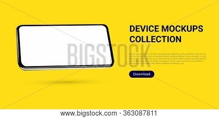 Realistic Template Mock Up Of A Horizontally Rotated Angled Smartphone For Web Design, Webpages, Ban