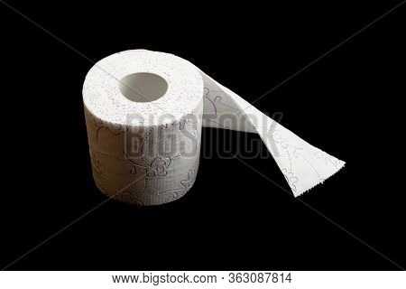 Paper Toilet Public Background. Soft Tissue Paper Roll Isolated On Black. Storing Tissue Toilet Pape