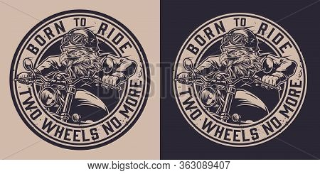 Vintage Motorcycle Monochrome Round Label With Ferocious Eagle Head Biker In Helmet Riding Motorbike