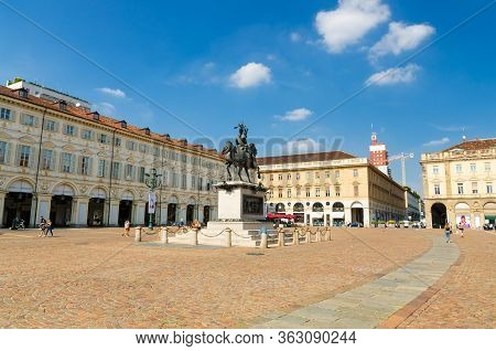 Turin, Italy, September 10, 2018: Piazza San Carlo Square With Emanuele Filiberto Monument And Build