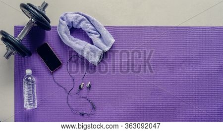 Work Out Exercise Gym Items And Equipment: Dumbbells, Mat, Water, Phone With Music. Ready For Gym Wo