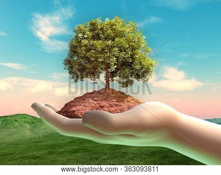Tree and some soil in a cupped hand. 3D illustration.