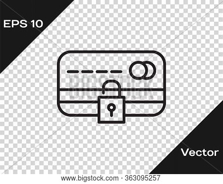 Black Line Credit Card With Lock Icon Isolated On Transparent Background. Locked Bank Card. Security