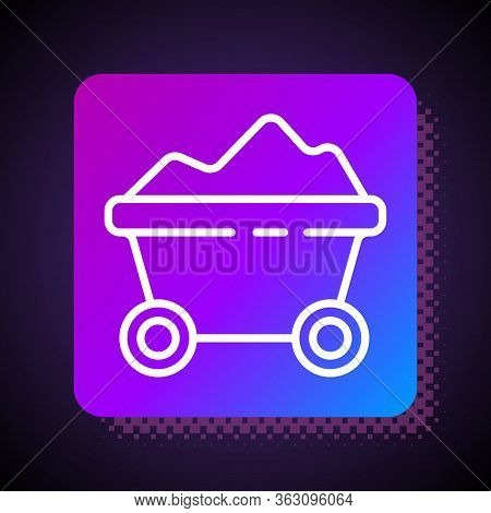 White Line Coal Mine Trolley Icon Isolated On Black Background. Factory Coal Mine Trolley. Square Co