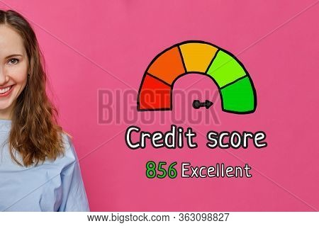 Credit Score Excellent Concept - Girl On A White Background With Icons And Text. Close Up.