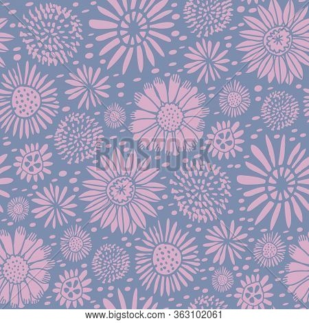 Meadow Ditzy Spring Flowers Vector Repeat Pattern. Pattern For Fabric, Backgrounds, Wrapping, Textil