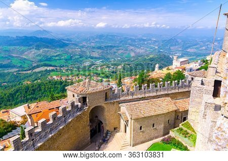 Republic San Marino, September 18, 2018: Aerial Top View Landscape With Valley, Green Hills, Fields,