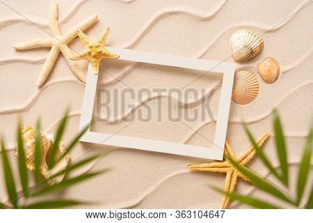 Summer Beach Frame Background, Sand Shells Seastar With Blurred Palm, Vacation And Travel Concept, F