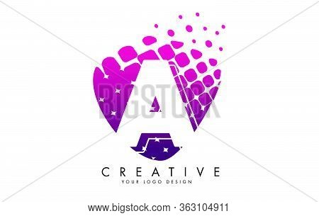 Letter Aa Design With Pink And Purple Shattered Blocks Vector Illustration. Pixel Art Of The A Lette