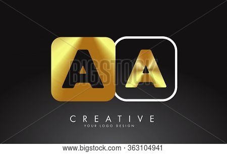 Gold And Black Aa A Letters Logo With Squares Design. Simple Aa Icon With Two Sides Squares. Creativ