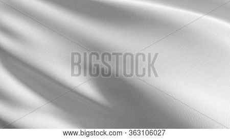 Empty White Flag And Copy Space For Advertisement. Mockup. 3d Abstract Illustration.