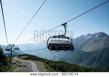 Ski-lift At Tetnuldi Ski Resort In Caucasus Mountains. Svaneti, Georgia, Europe