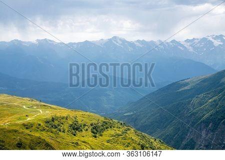 Beautiful Mountain View On The Way To Koruldi Lakes, Mestia, Upper Svaneti, Georgia