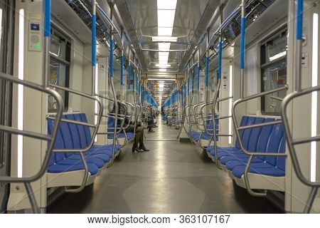 Moscow, Russia, April 25, 2020. Empty Subway Cars In Moscow For The Duration Of The Quarantine