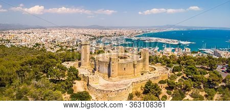 Aerial Drone View Of Palma De Mallorca City. Cityscape With View On Bellver Castle, Sea, Marina, Arc