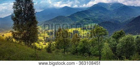 Countryside panorama of Carpathian mountains in western Ukraine. Highland hills