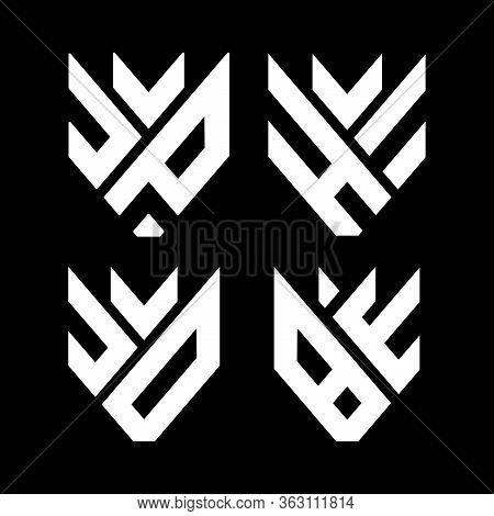 Initial Letter J, U, C, V, D, B, E, H, Jp, He, Jd, Be, Bw Logo Template With Modern Fox Head Simplic