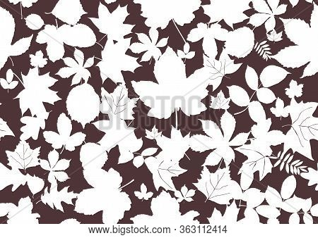Vintage Flat Illustration With Black Autumn Leaves Ditsy Seamless For Textile Design. Vector Illustr