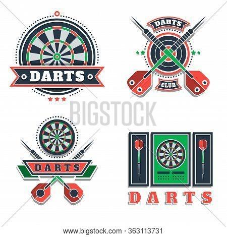 Darts Tournament Or Club Logo Set. Design Element, Business Sign. Identity, Label, Badge. Darts Spor