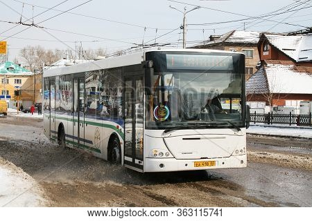 Sterlitamak, Russia - March 23, 2008: White Urban Bus Nefaz 52997 (vdl Transit) In The City Street.