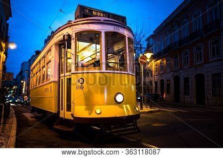 February 27, 2017. Lisbon, Portugal. Historic Tram 28 In The City Center Of Lisbon, Portugal. Vintag