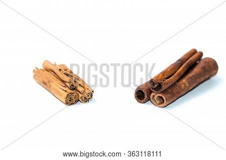 Chinese Cassia Originated From China And Ceylon Cinnamon Verum From Sri Lanka Bark Sticks On A White