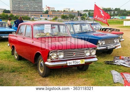 Moscow, Russia - July 6, 2012: Red Soviet Car Moskvitch 408e Presented At The Annual Motorshow Autoe