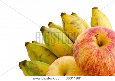 Bunch Of Cultivated Banana And Apples