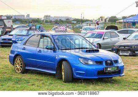 Moscow, Russia - July 6, 2012: Blue Sports Sedan Subaru Impreza Presented At The Annual Motorshow Au