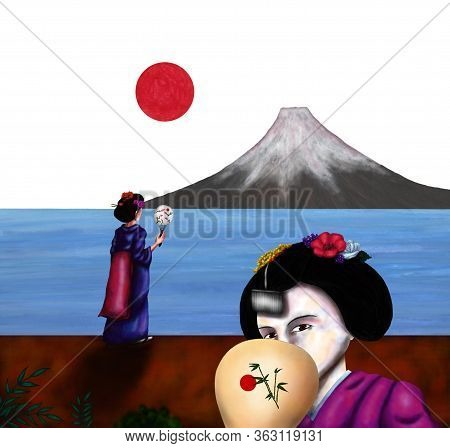 An Abstract Colorful Watercolor Painting Illustration Of A Young Japanese Geisha Girl, Holding A Han