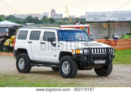 Moscow, Russia - July 6, 2012: White Offroad Car Hummer H3 Presented At The Annual Motorshow Autoexo