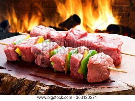 delicious raw meat skewer, beef